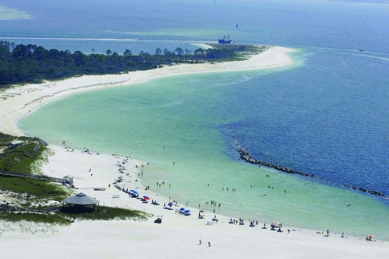 """A bird's eye view of the """"kiddie pool"""" area of St. Andrews State Park. This is a popular and usually calm spot for snorkeling and swimming."""