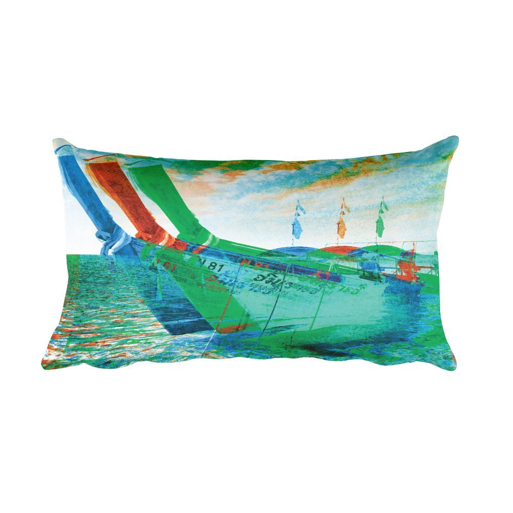 Thailand Boats - Pop Art Throw Pillow
