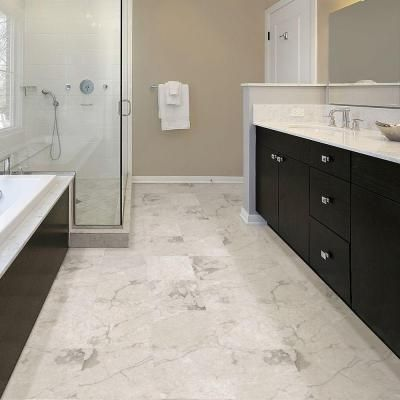 Trafficmaster Premium 12 In X 12 In Carrara Marble Vinyl Tile 30 Sq Ft Case 6513 T Vinyl Flooring Bathroom Marble Bathroom Floor Bathroom Floor Tiles
