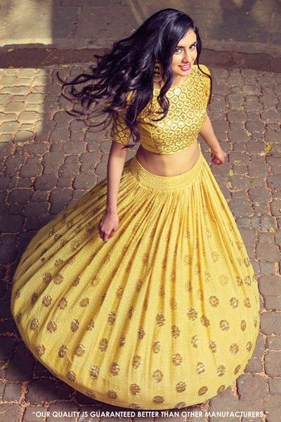 bf95e41d7fdd91 Traditional Wear Yellow Crop Top Lehenga - 60556