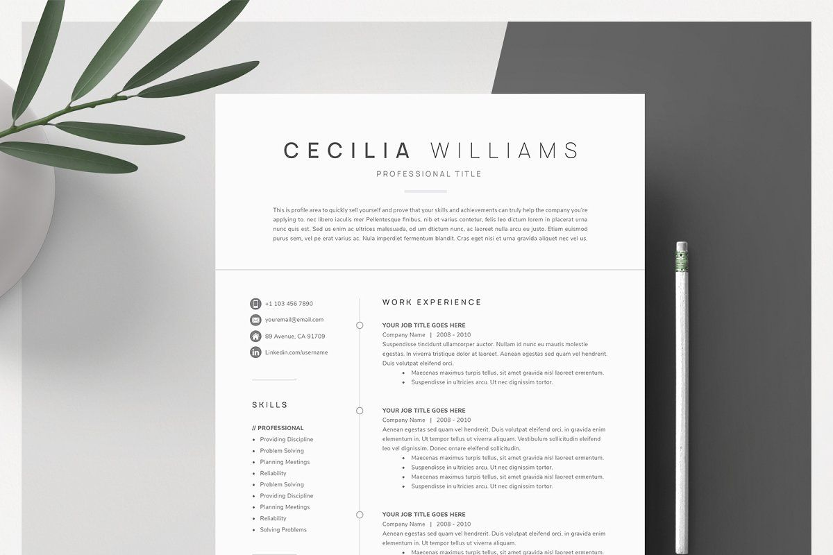 Clean Modern Resume Template Modern Resume Template Resume Templates Cover Letter For Resume