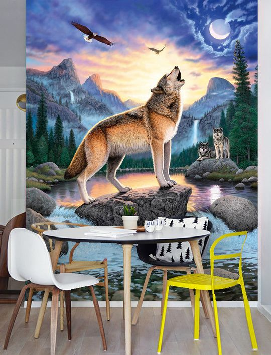 Poster Geant Animaux Sauvages Loup Pleine Lune Paysage Montagne