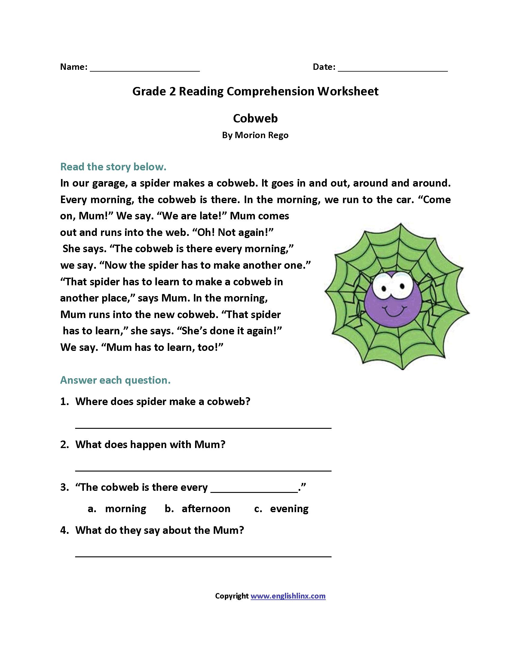 Cobweb Second Grade Reading Worksheets   2nd grade reading comprehension [ 2200 x 1700 Pixel ]