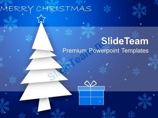 Christmas Wreaths Images Of Blue Background With Gifts Powerpoint