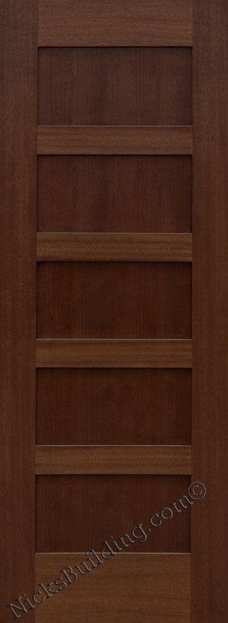 Wood Shaker Interior Door   5 Panel Interior Door  Mahogany Wood Door  Stained In A