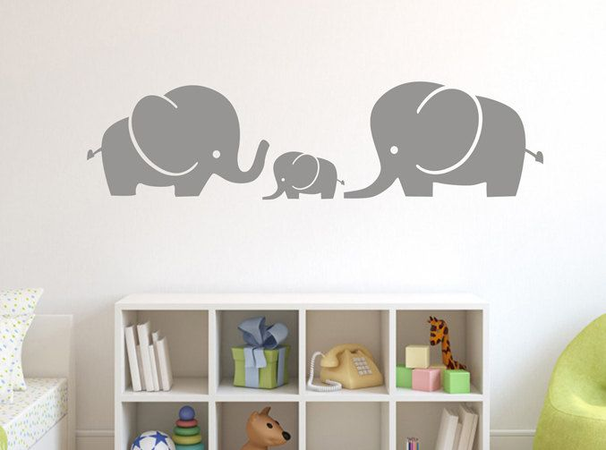 Elephant Family Wall Decor,Mom and baby Family Wall Sticker,Vinyl Cute elephant Wall Sticker Nursery,Removable Children Bedroom Wall Decal by Sxixm on Etsy https://www.etsy.com/listing/232996238/elephant-family-wall-decormom-and-baby