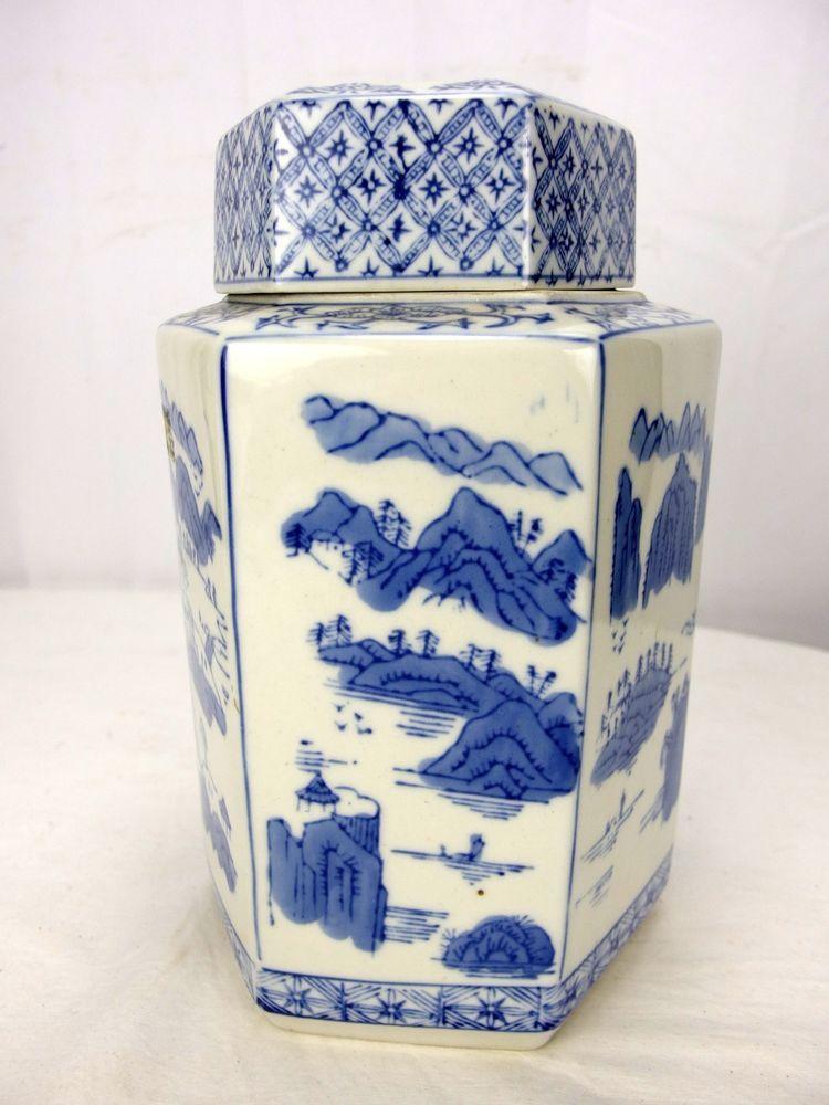 vintage chinese blue white hexagonal ginger jar asian. Black Bedroom Furniture Sets. Home Design Ideas