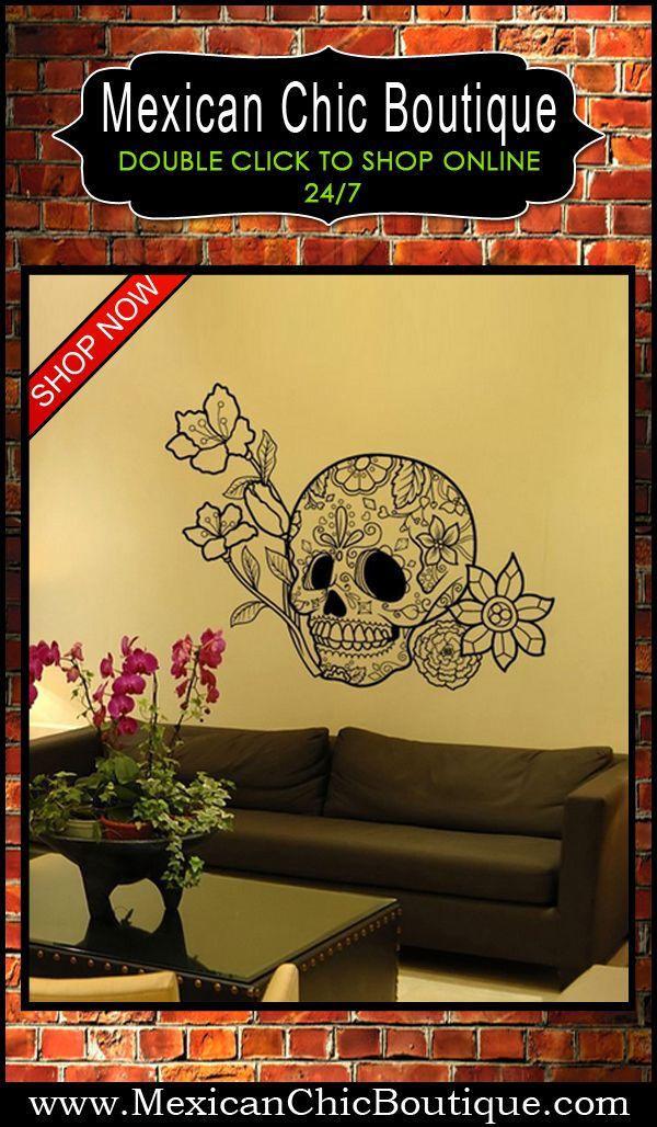 Sugar Skull wall sticker - Vinyl Wall Art Decal Sticker Flowers and ...