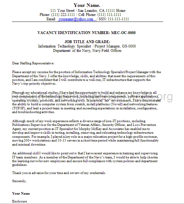 Federal Cover Letter Sample HttpWwwFederalresumewritersNet
