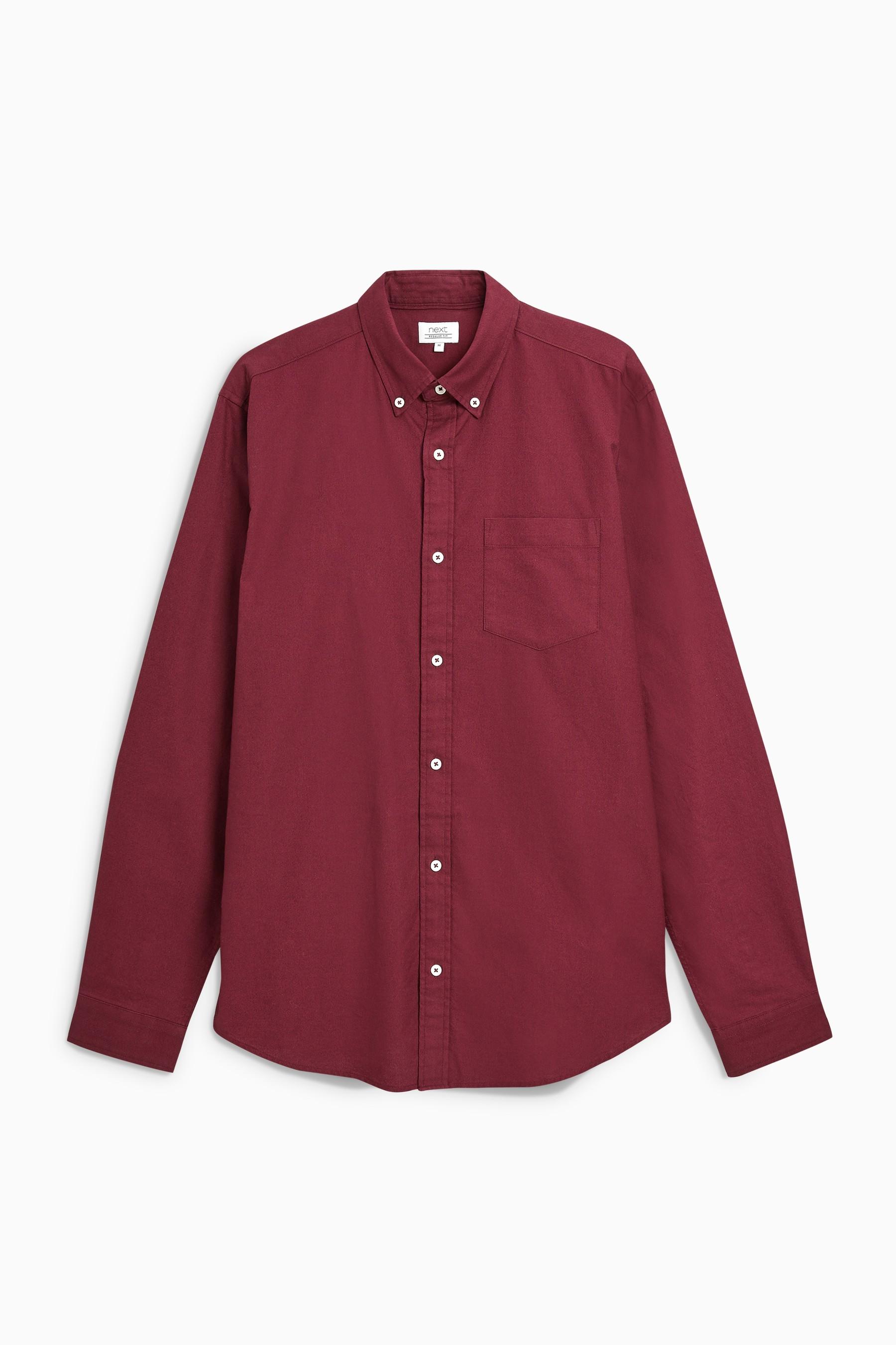 Red Oxford Shirt Linen Blend