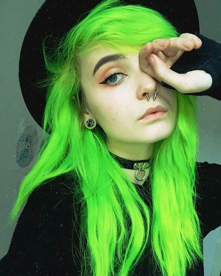 green girl neon hair goth vibes