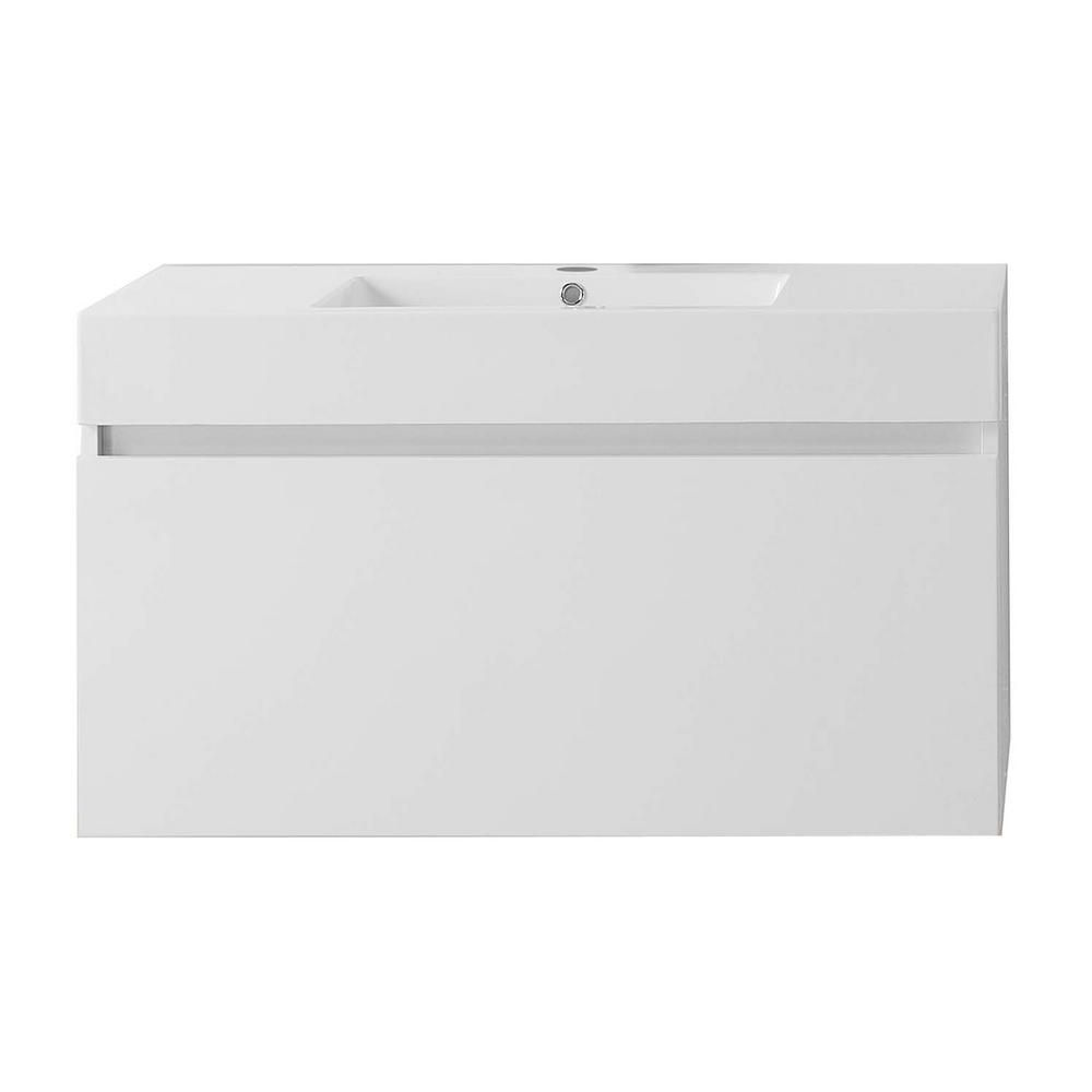 Virtu USA Zuri 39.37 in. W Vanity in Gloss White with