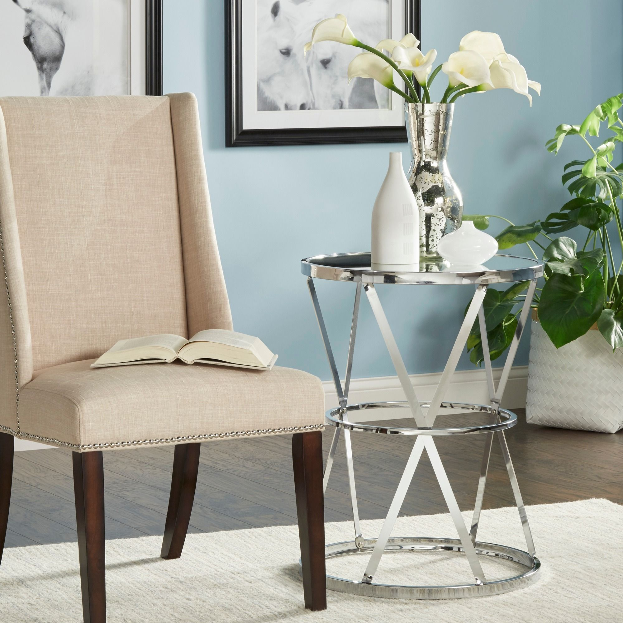 Berke Mirrored Top Round End Side Table by iNSPIRE Q Bold by iNSPIRE Q