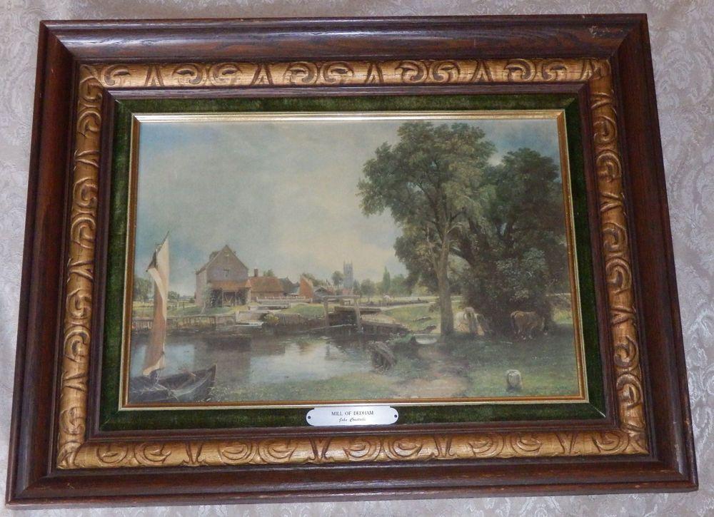 Vtg MILL OF DEDHAM PRINT Oak WOOD PICTURE FRAME John Constable AARON ...