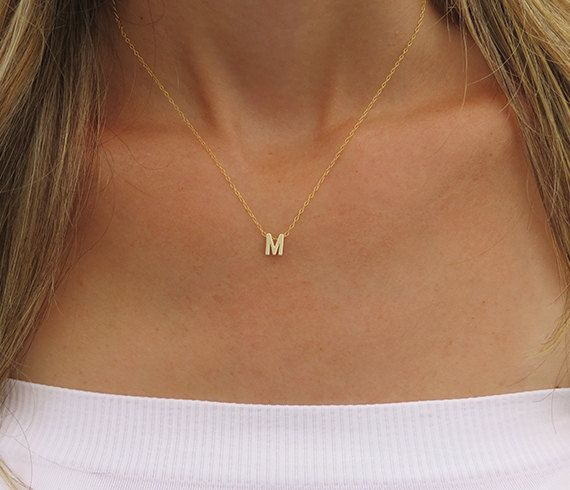 ab8d26847a8ce Tiny gold initial necklace Gold letter necklace by HLcollection