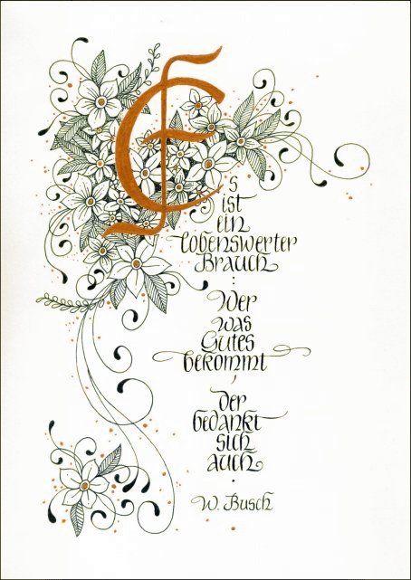 Kalligraphie Gedicht Wilhelm Busch Dank Danksagung