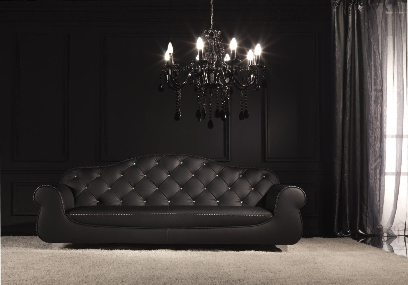 Tufted Back Black Leather And Swarovski Crystal Sofa