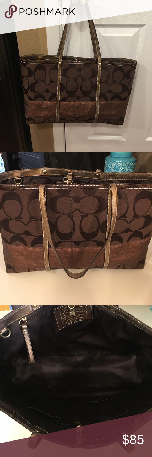 Large Authentic Signature Coach Tote Large Authentic Signature Coach tote. Pre-owned. Excellent condition. Chocolate brown with Gold leather handles and accent band around top. Sparkle copper band around middle. Very clean. No fraying. Zipper pocket inside as well as two side pockets. Measures 17 x 10 1/2 Coach Bags Totes