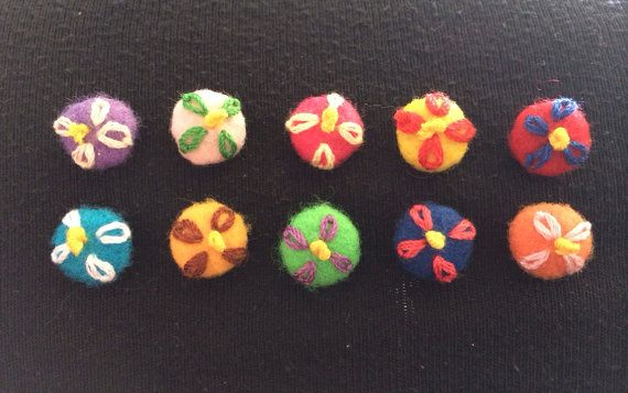 Thumbtacks / drawing pins / push pins with embroidered flowers on Etsy, £2.50