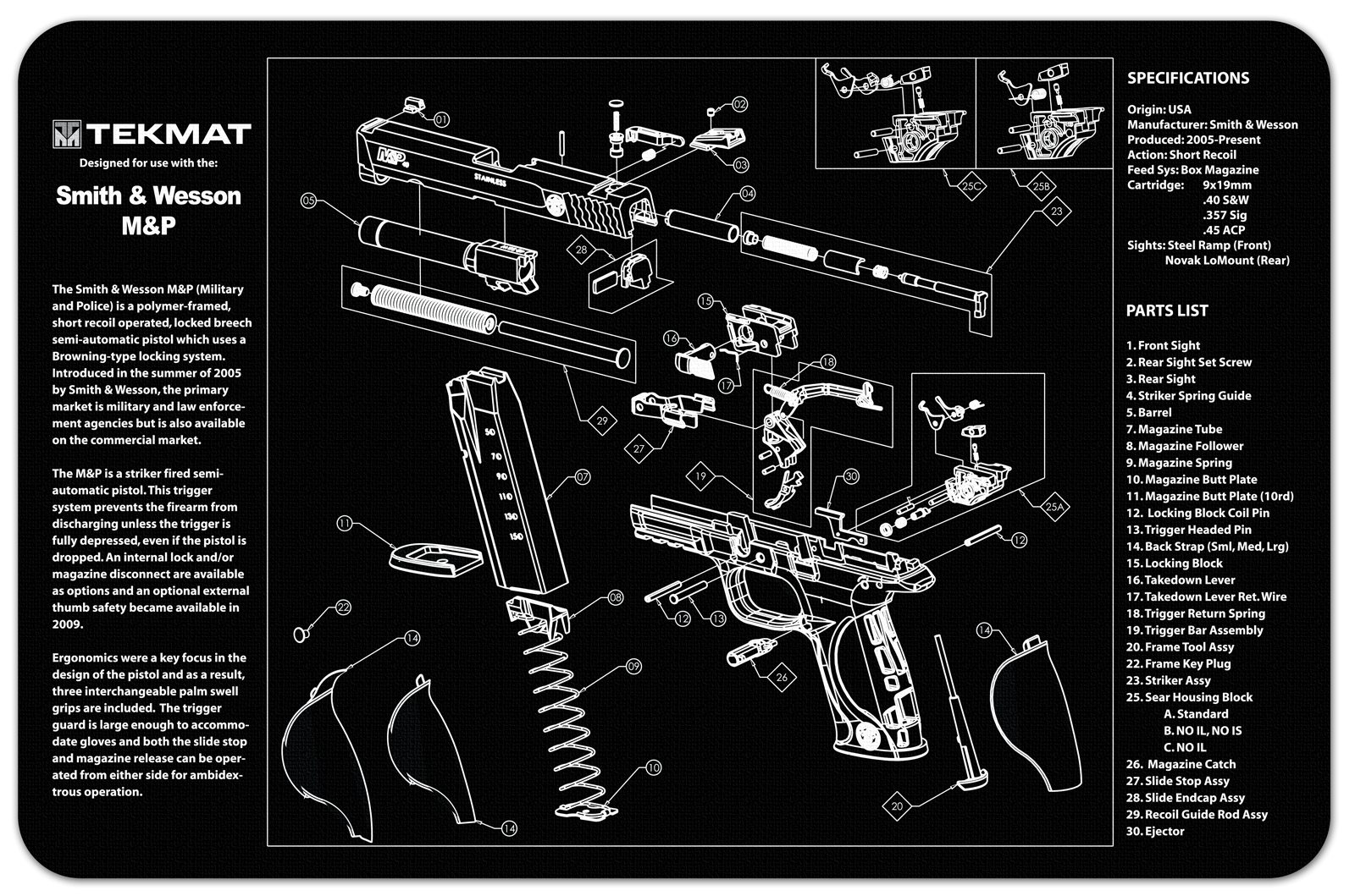 1911 Exploded View Cleaning Mat 1911 Grey Armorers Gun
