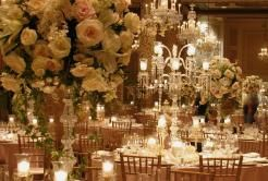 Romantic Floral & Crystal Candlabras in Gold Coast Room of Drake Chicago