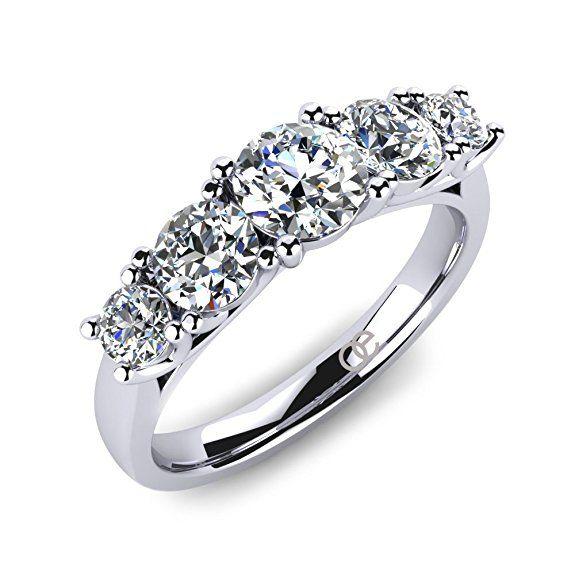 Moncoeur Ring Pivoine 5 Steine Echtes 925 Silber Mit Zirkonia Swarovski Die Beste Auswahl Als Verlobungsring Traur Ring Verlobung Verlobungsring Damen Ring
