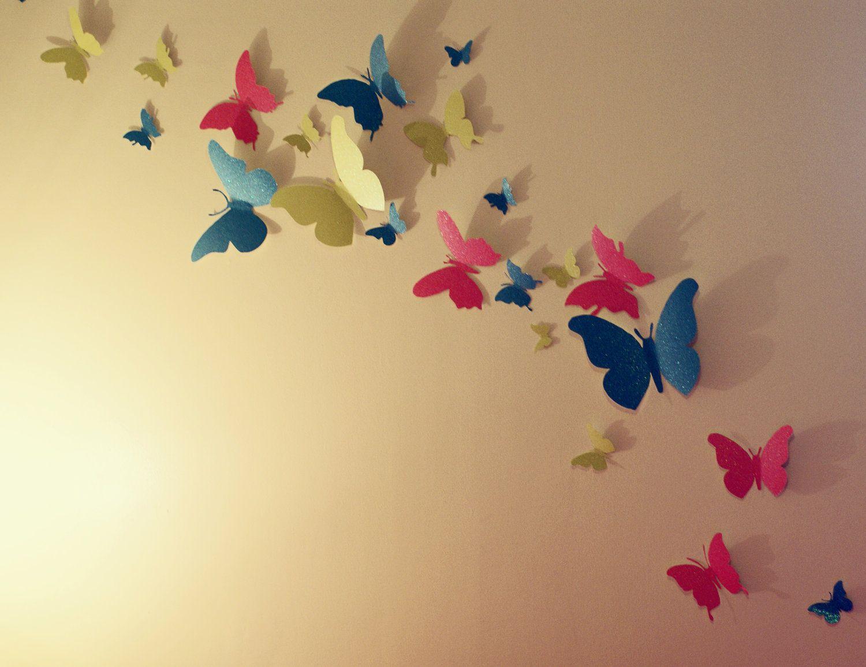 30 glitter 3d butterfly wall art circle burst butterfly for Butterfly mural ideas