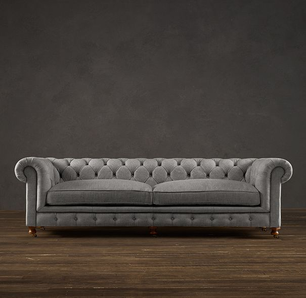 restoration hardware sectional sofa linen extra large corner bed my next couch 98 kensington upholstered in brushed cotton fog
