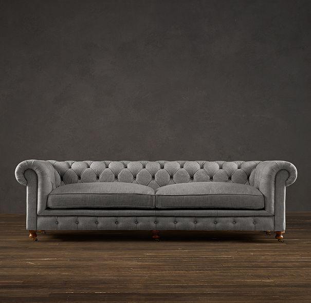 italia sofa rh dark brown leather cushions restoration hardware chesterfield 76 kensington ...