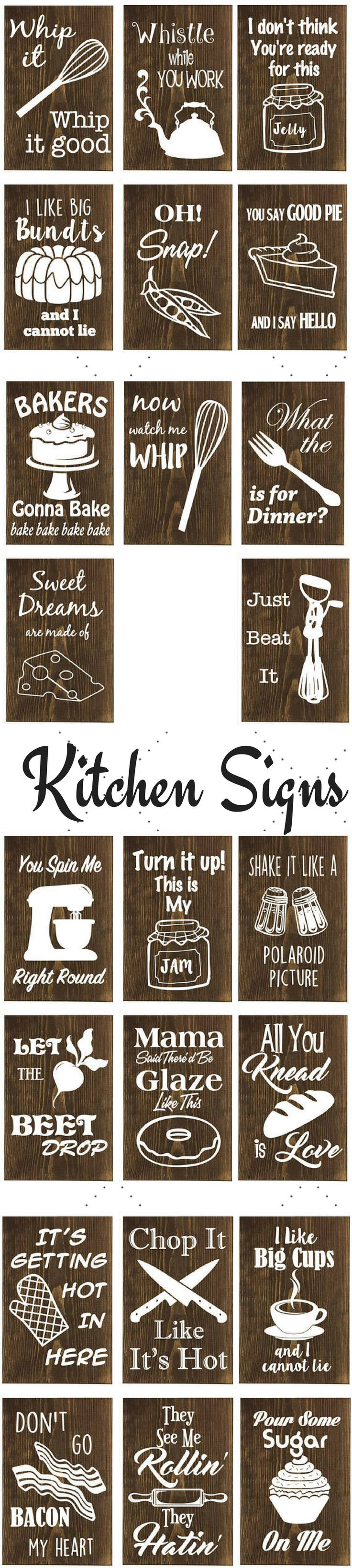 Kitchen Signs For Home Ceiling Paint Decor Wood And Vinyl Punny Funny Clever Baking