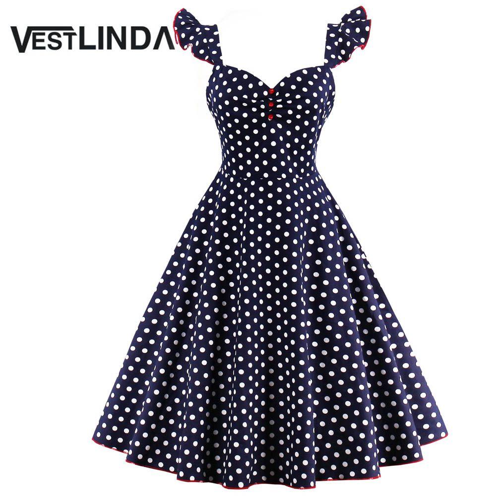 Barato Abotoado vestlinda polka dot pin up dress mulheres 2017 verão ...