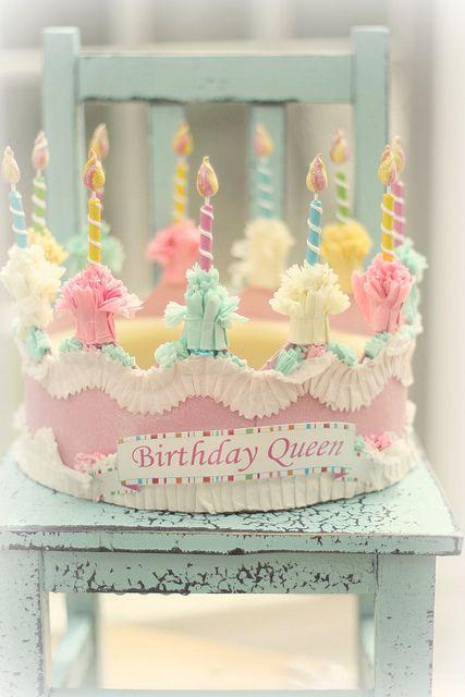 Pretty vintage inspired pastel birthday crown