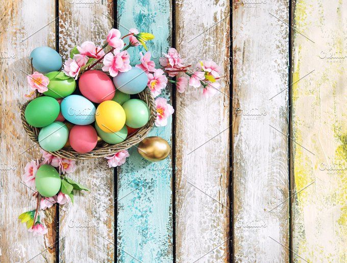 Easter eggs with flower decoration by LiliGraphie on @creativemarket