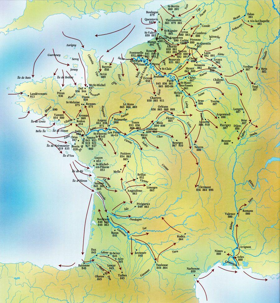 map of viking raids in france 9th 10th centuries breizh