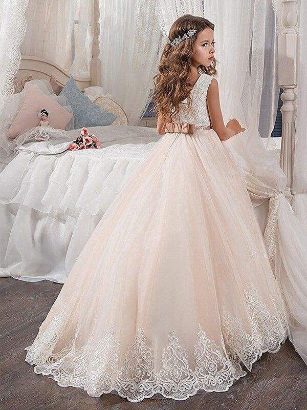 Flower Girl Dress Off Shoulder Wedding Party Princess Dresses Formal Ball Gowns