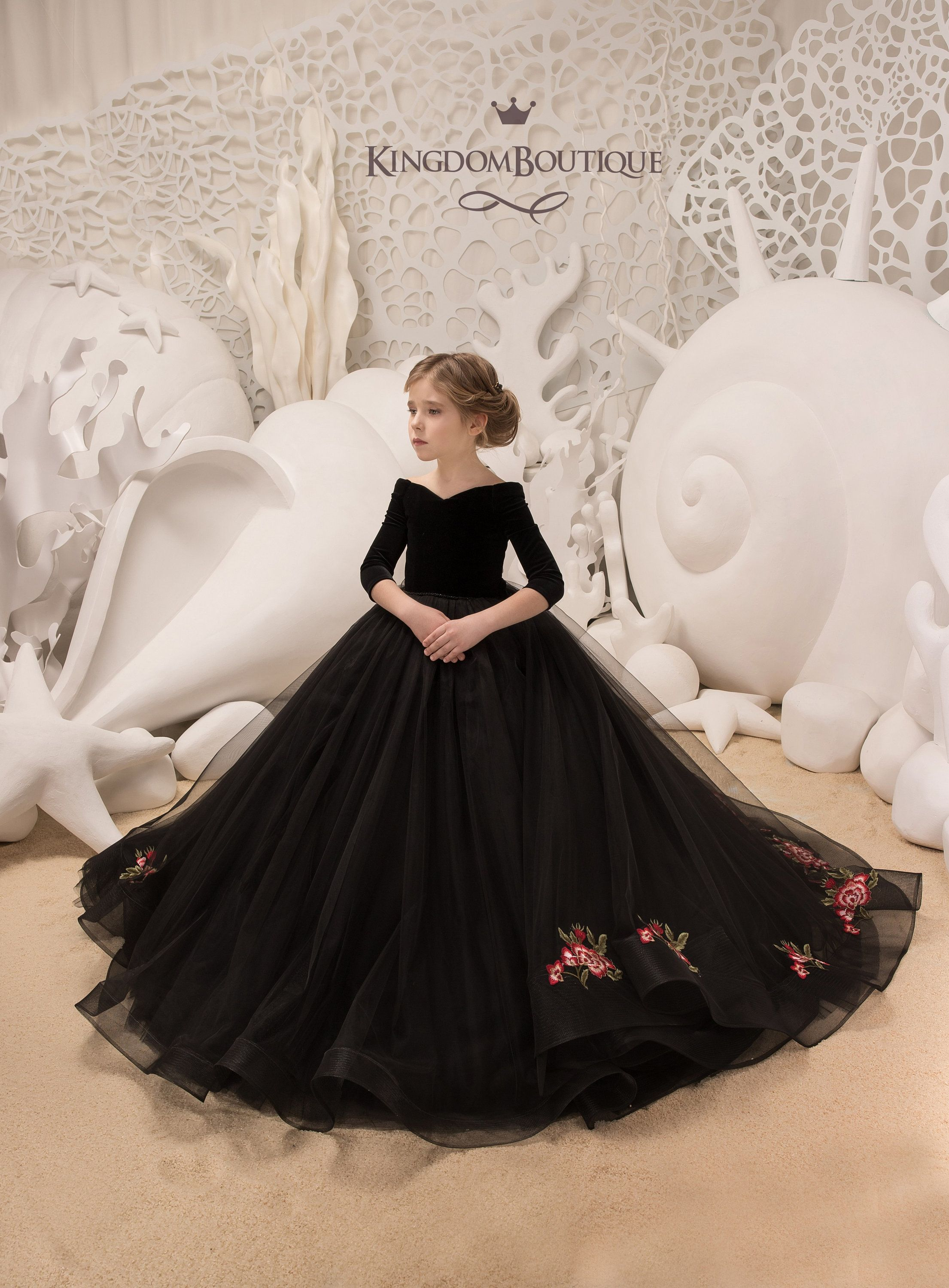 3fe5bed5241 Black Velvet Flower Girl Dress - Birthday Wedding party Bridesmaid ...