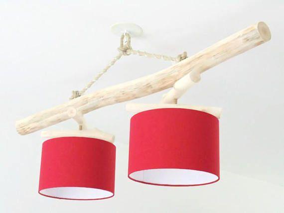 lustre bois flott 28 cm double suspension led living. Black Bedroom Furniture Sets. Home Design Ideas