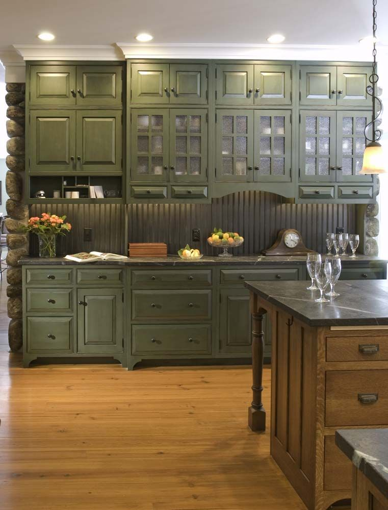 Arts Crafts Style Kitchen Soapstone Green Kitchen Cabinets Craftsman Kitchen Home Kitchens