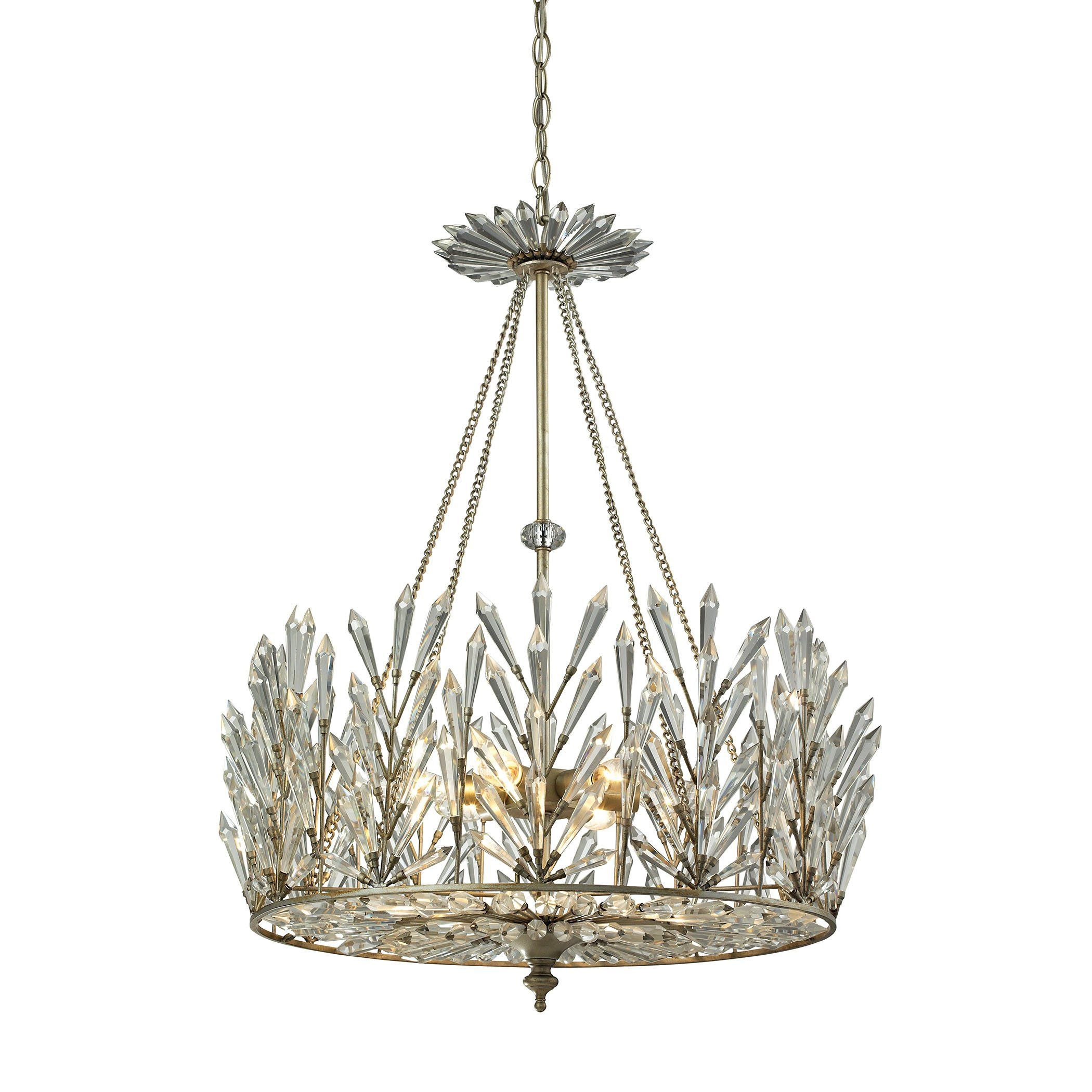 Off With Coupon Elk Lighting Chandelier 31778 6 Viva Natura Light In Aged Silver