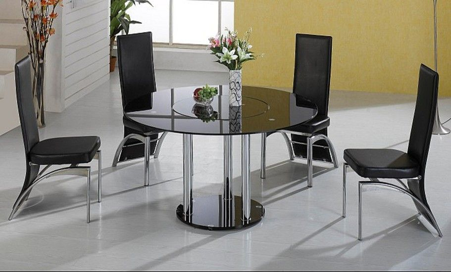 Durban Black Glass Round Dining Table With 4 Chrome Black Or Cream