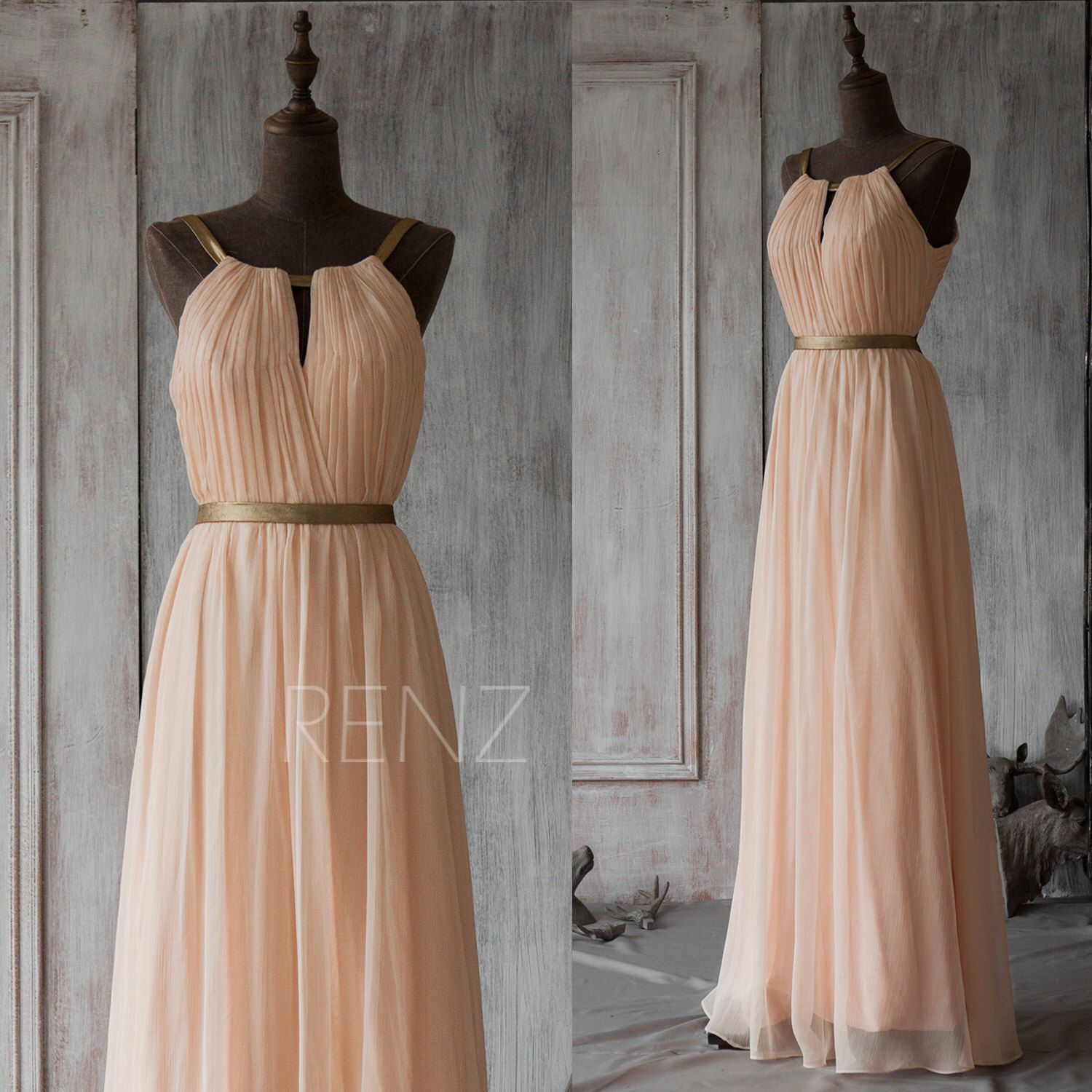 2015 Peach Long Bridesmaid Dress,Blush Prom Dress,Chiffon Wedding ...