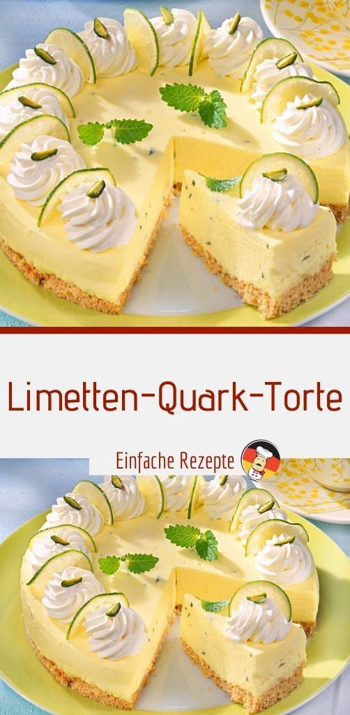 Lime quark cake -  Ingredients for 16 pieces 80 g butter 200 g whole grain butter biscuits oil 2 st