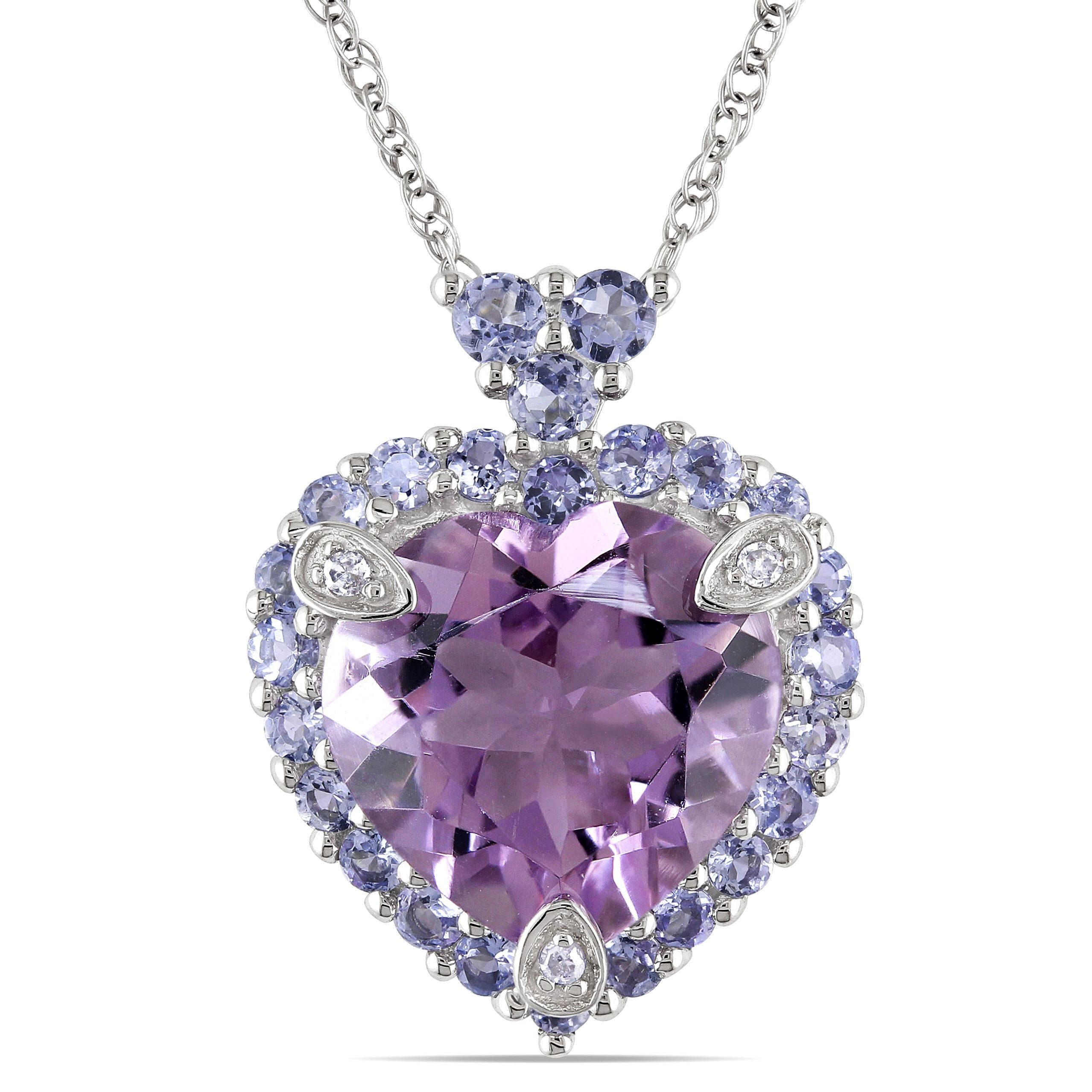 This eye catching 10 karat white gold amethyst heart pendant miadora 10k white gold amethyst tanzanite and diamond accented necklace overstock shopping the best deals on gemstone necklaces aloadofball Image collections