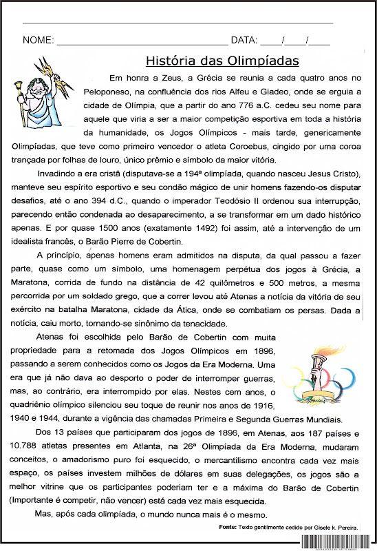 Super SOS PROFESSOR-ATIVIDADES: História das Olimpíadas | ATIVIDADES 4º  GD99