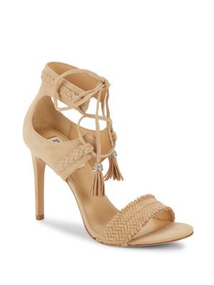 BADGLEY MISCHKA Bombay Sand Open-Toe Stiletto Sandals. #badgleymischka #shoes #sandals