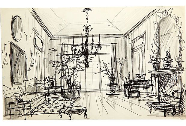 Sketch Of Drawing Room And French Chandelier Pen Pencil On Paper Albert Hadley
