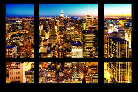 Wall Mural Window View Manhattan Skyline At Night New York City Wall Mural Large By Philippe Hugonnard A City View Apartment Manhattan City Window View