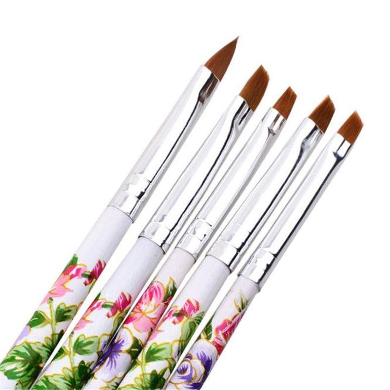 5pcs UV Gel Acrylic Nail Art Brush Painting Pen Set Nail Design ...