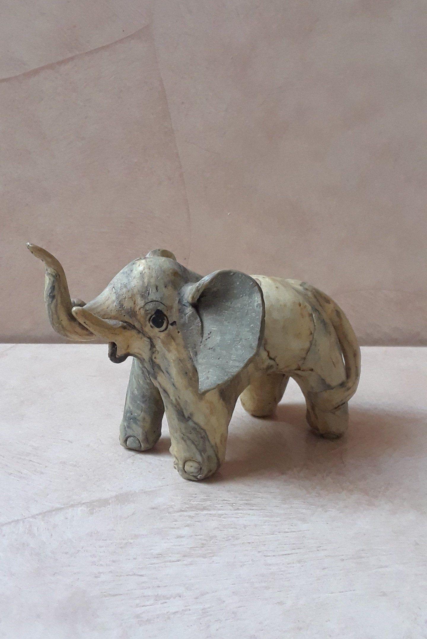 Vintage Carved Elephant With Raised Trunk For Good Luck Bone Elephant Figurines Elephant Sculpture Elephant