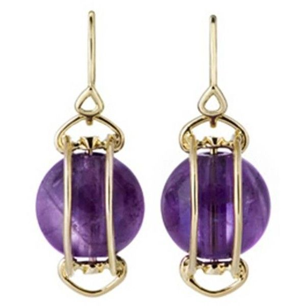 Doppio Smooth Amethyst Gold French Wire Dangle Earrings ($1,350) ❤ liked on Polyvore featuring jewelry, earrings, purple, wire jewelry, yellow gold earrings, long wire earrings, purple earrings and amethyst jewelry